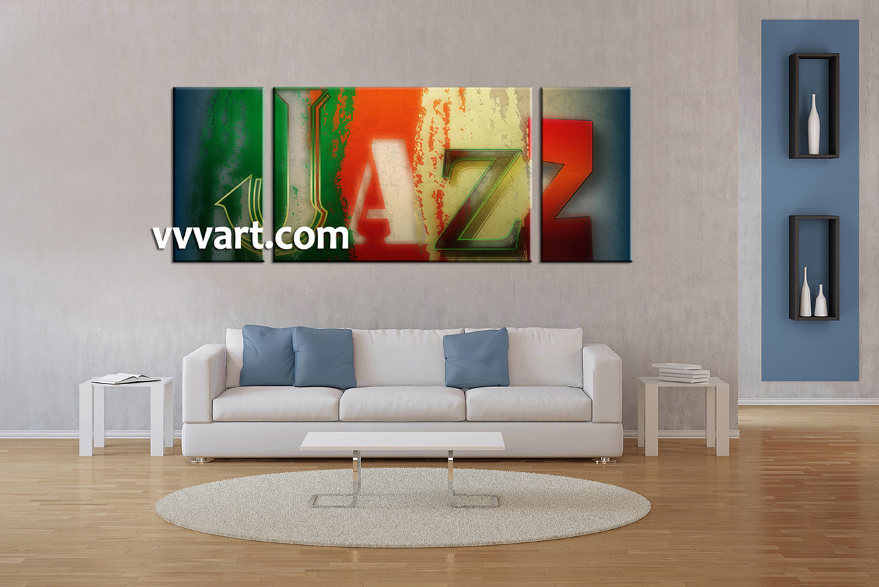 Triptych colorful jazz music canvas large pictures for Living room jazz