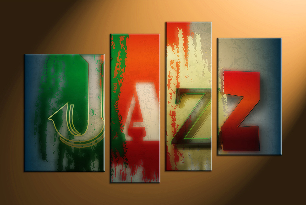 4 piece colorful canvas jazz music multi panel art for Large colorful wall art