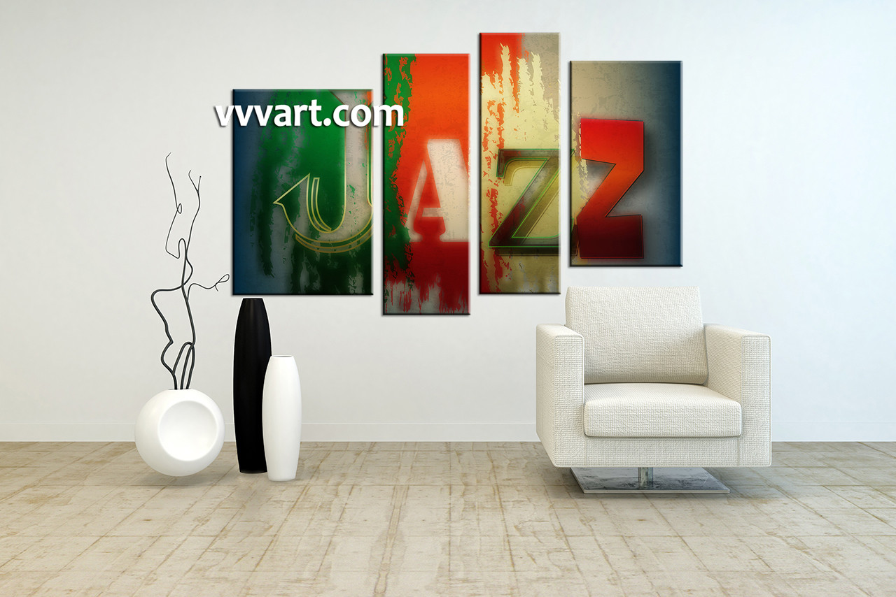 4 piece colorful canvas jazz music multi panel art for Living room jazz