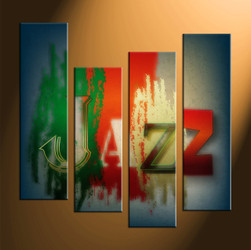 home decor, 4 piece canvas art prints, jazz multi panel art, modern large canvas, music art