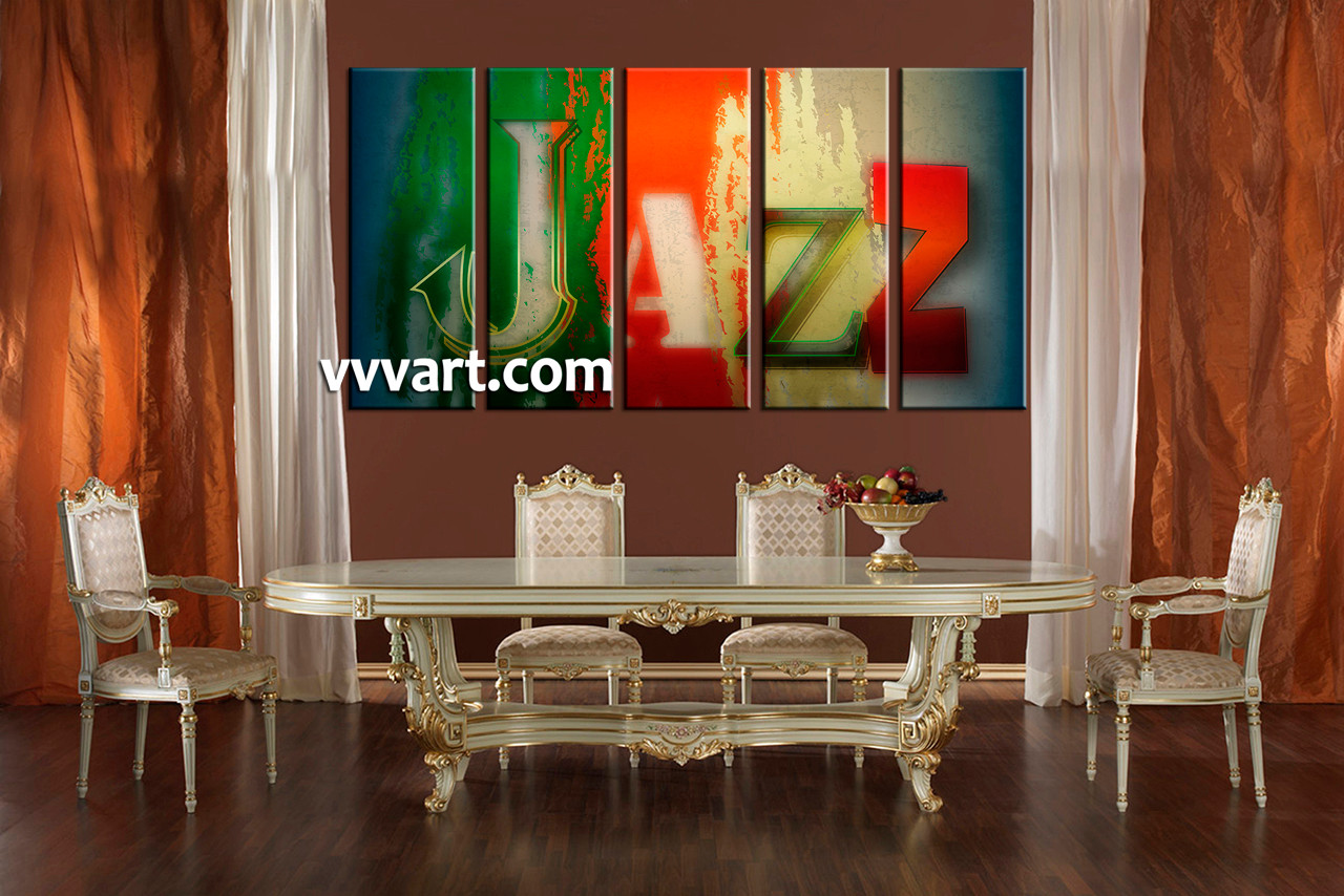 5 piece colorful jazz music wall decor for Dining room posters