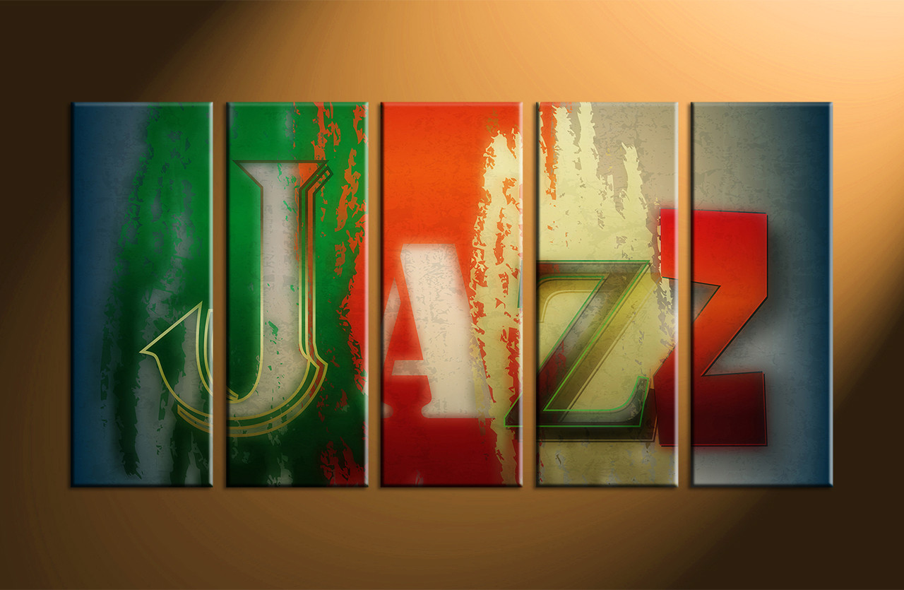 5 piece colorful jazz music wall decor for 5 piece mural