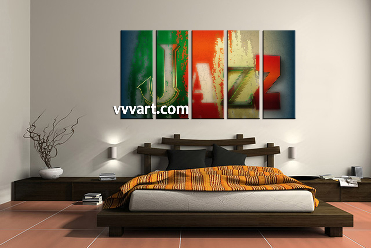Bedroom Decor, 5 Piece Wall Art, Abstract Pictures, Modern Art, Music Huge