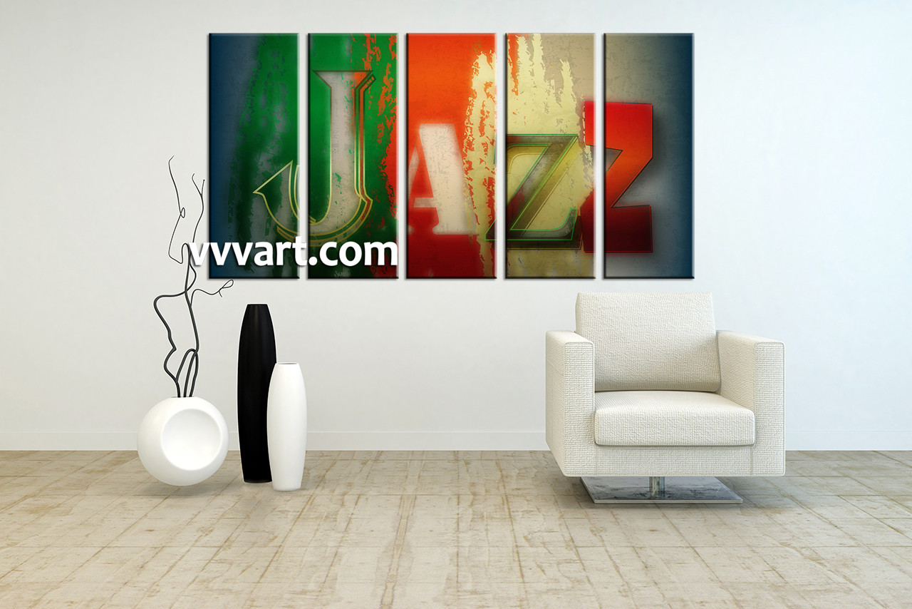 5 Piece Colorful Jazz Music Wall Decor