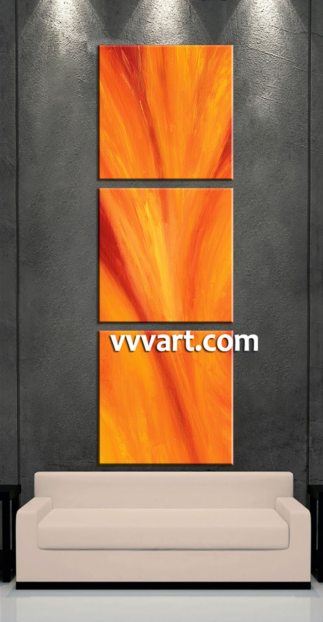 Abstract Wall Art 3 piece red canvas orange abstract wall art
