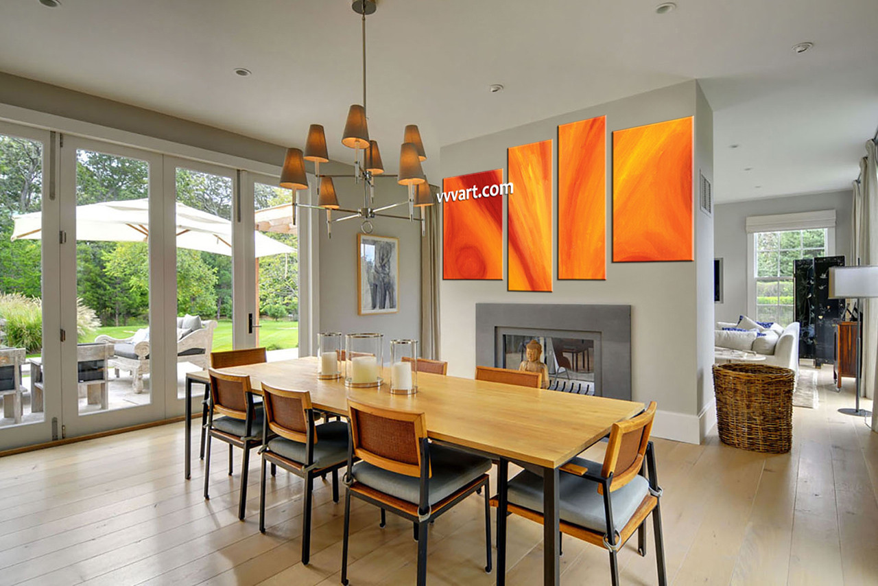 Piece Orange Abstract Red Huge Canvas Art