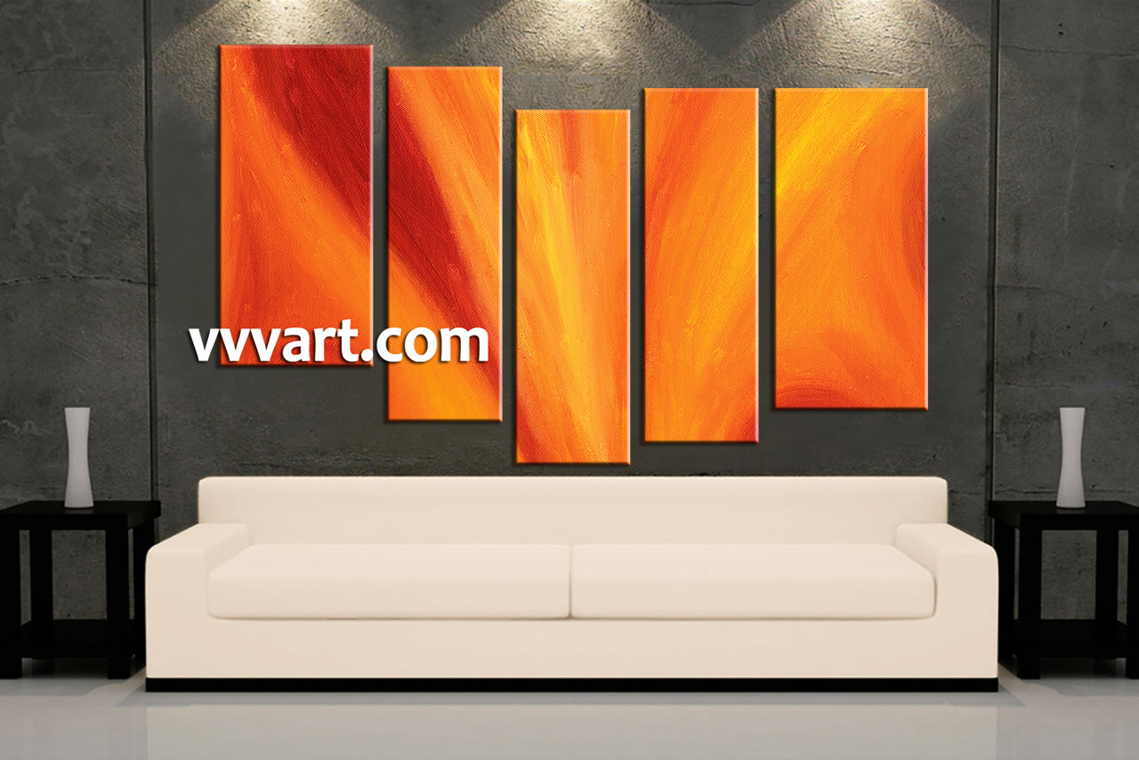 Five Piece Canvas Wall Art 5 piece orange abstract red photo canvas