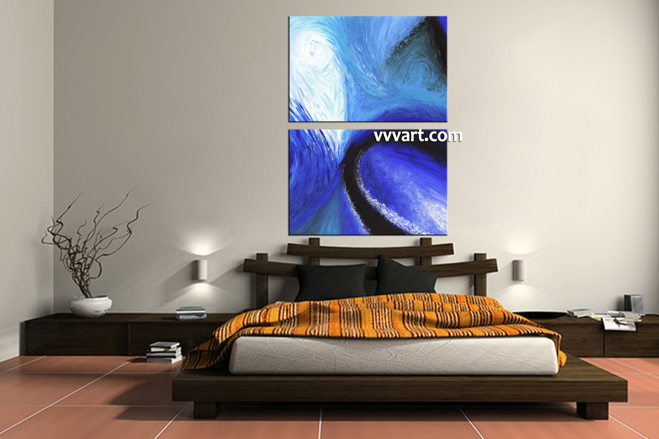 2 piece canvas blue abstract oil paintings wall art
