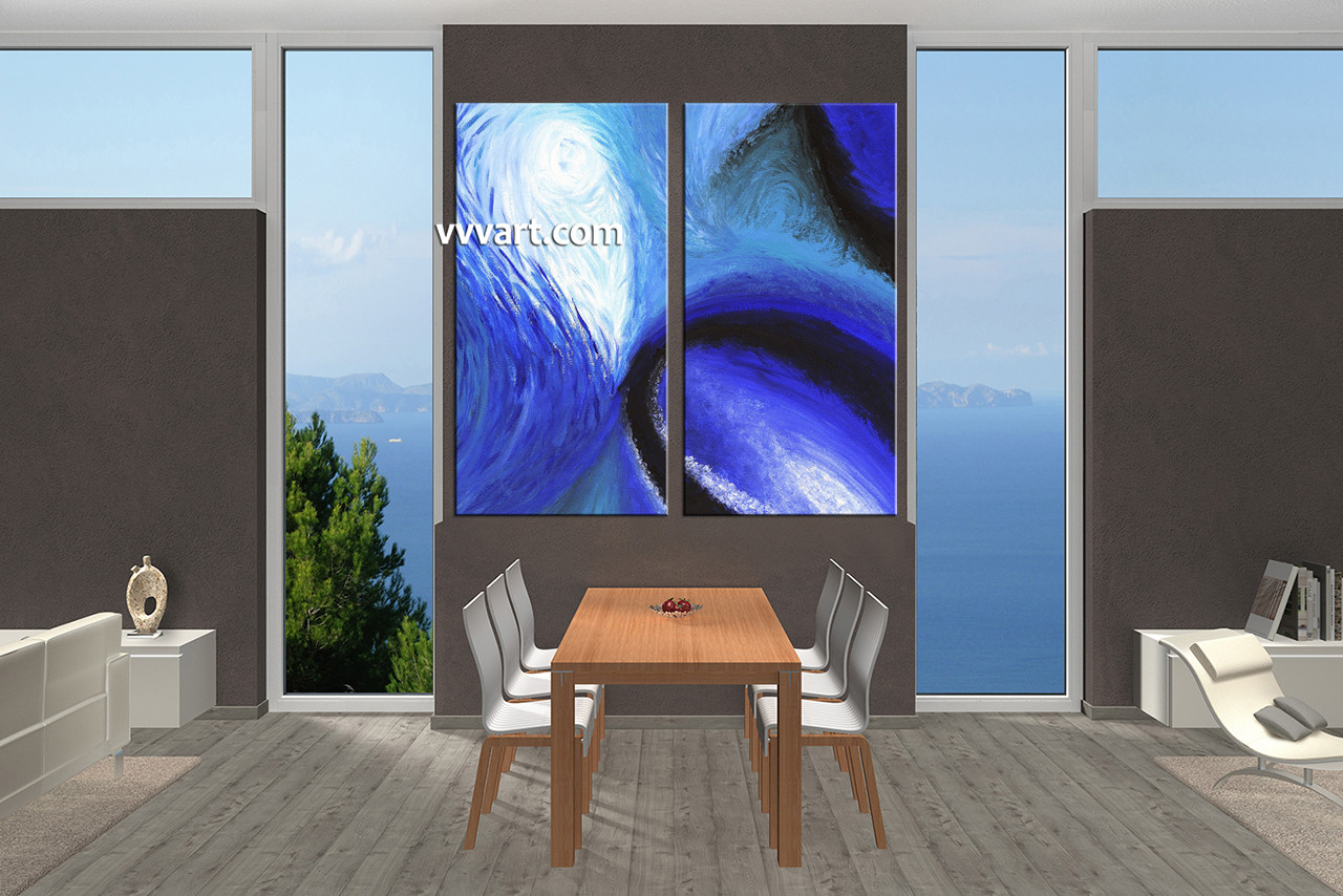 2 Piece Canvas Wall Art 2 piece blue abstract oil paintings group canvas