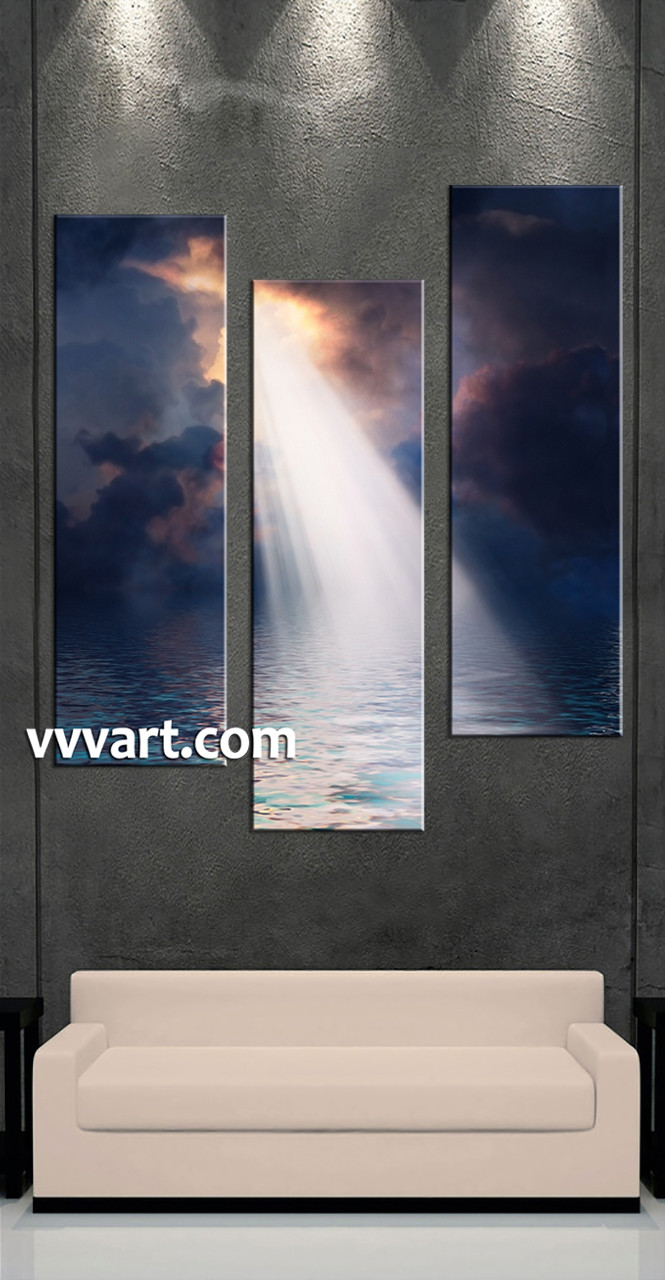 Living Room Art, 3 Piece Canvas Wall Art, Scenery Multi Panel Canvas,  Sunrise Part 86