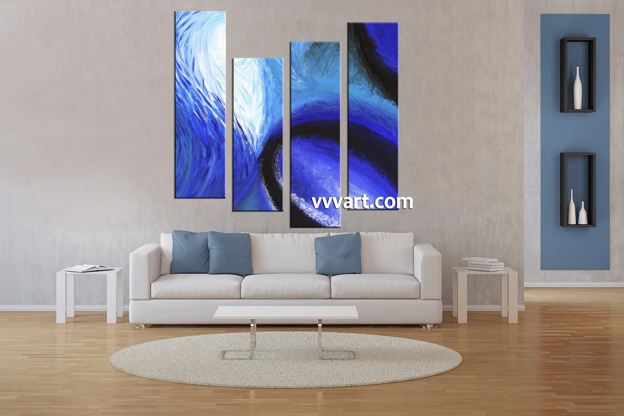 Living Room Art 4 Piece Canvas Wall Abstract Large Pictures