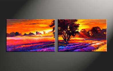 home decor, 2 piece huge pictures, landscape artwork, sunrise large canvas, oil group canvas