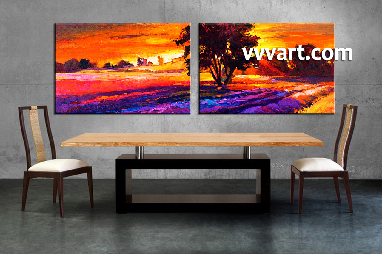 dining room art 2 piece canvas arts landscape large pictures oil multi panel & 2 Piece Orange Canvas Landscape Sunrise Oil Paintings Wall Art