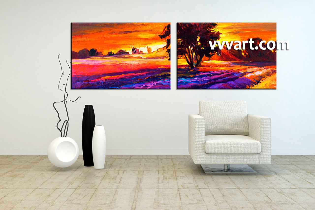 2 piece orange canvas landscape sunrise oil paintings wall art for Landscape paintings for living room