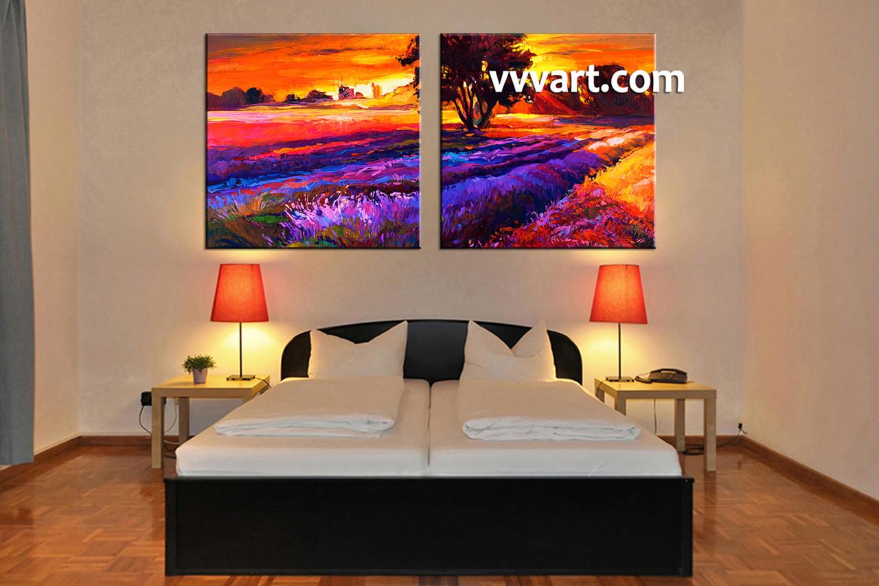 2 Piece Landscape Orange Sunrise Oil Paintings Canvas Wall Art
