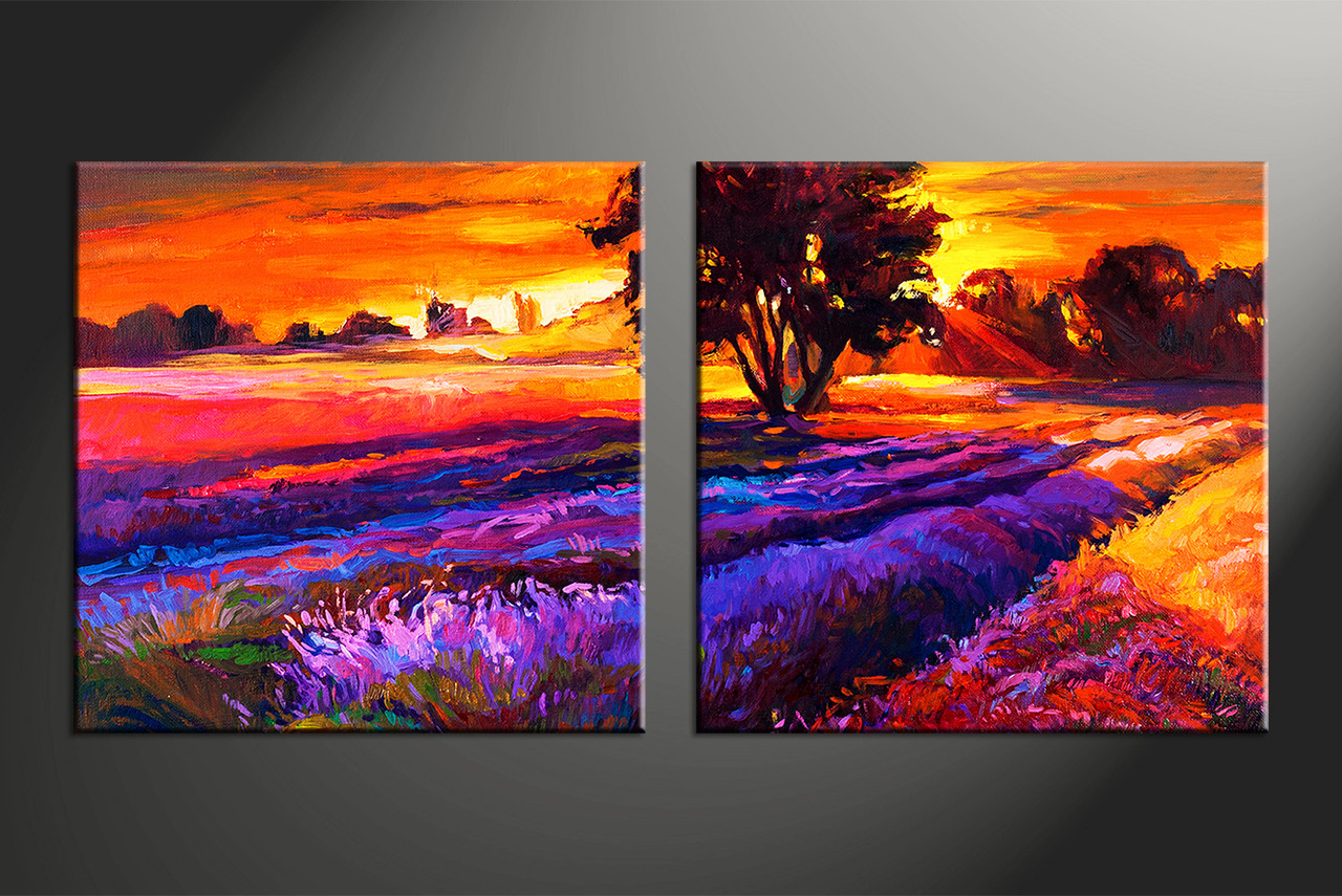 Wonderful Home Decor, 2 Piece Huge Pictures, Landscape Artwork, Sunrise Large Canvas,  Oil