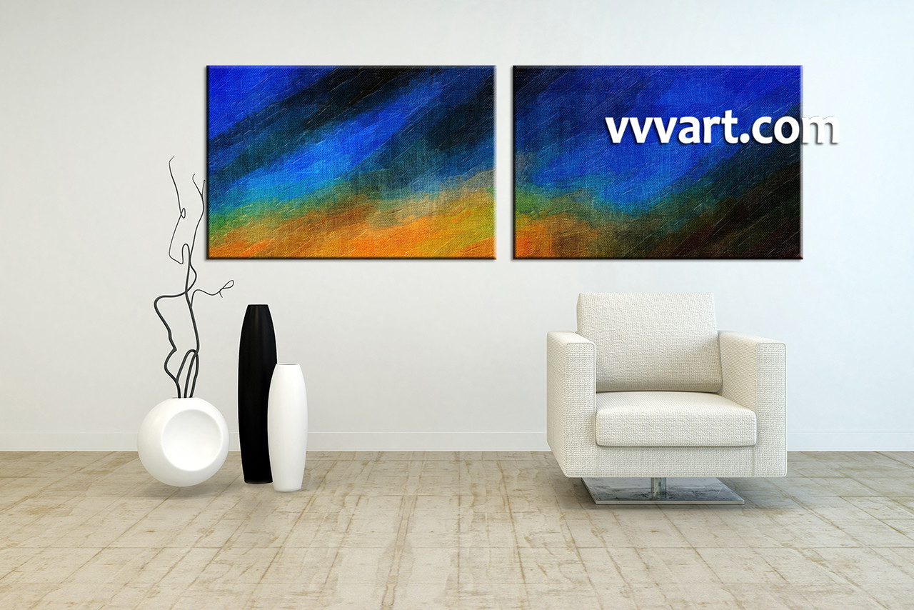 2 piece canvas oil paintings abstract blue artwork Living Room Wall Decorating Ideas Contemporary Canvas Wall Art