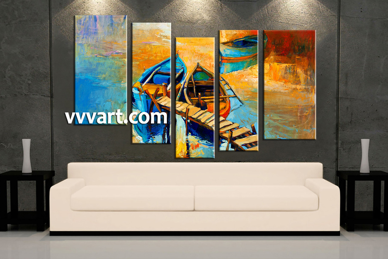 Living Room Canvas Paintings 5 Piece Yellow Canvas Boats Ocean Oil Multi Panel Art