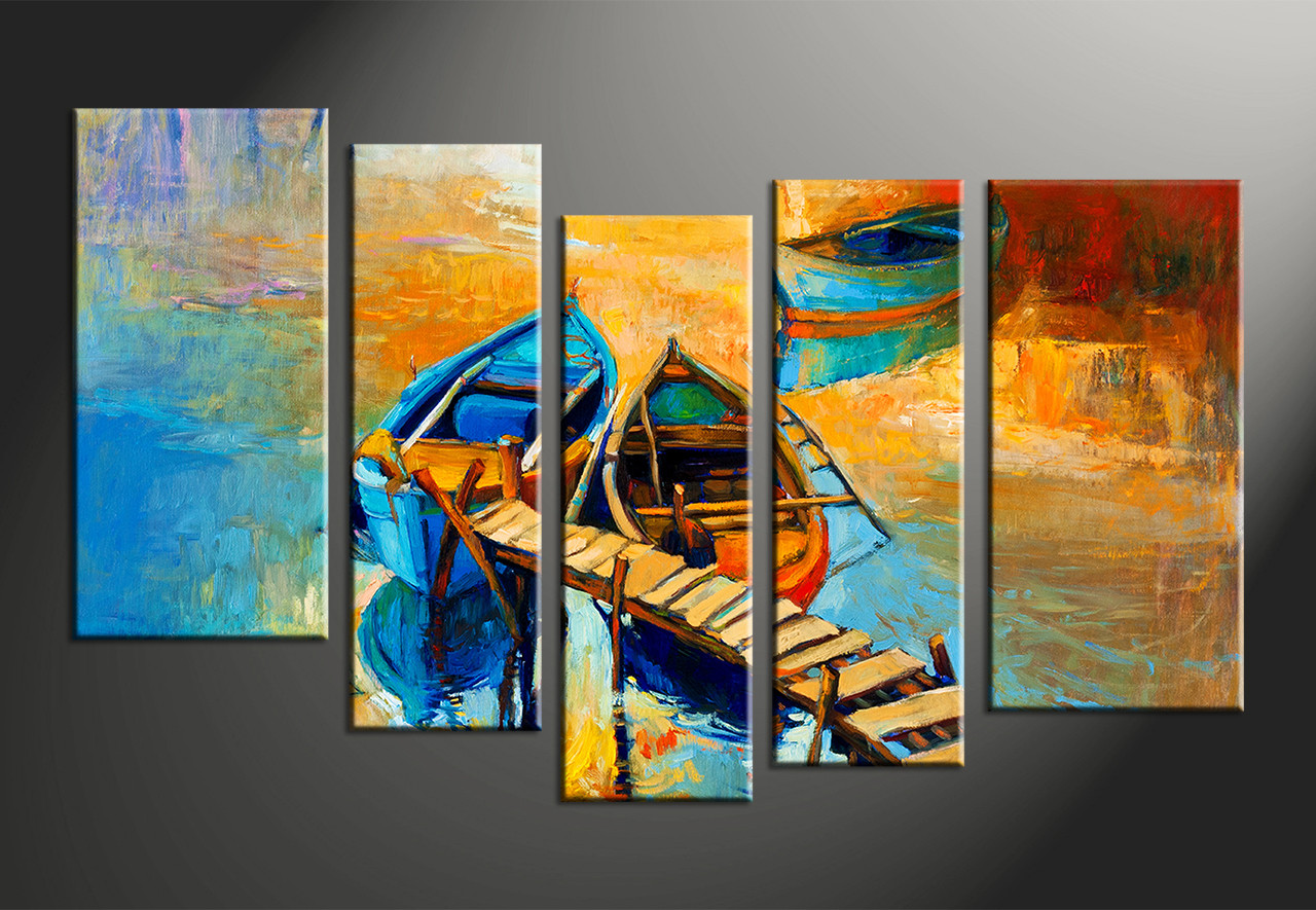 5 piece yellow canvas boats ocean oil multi panel art. Black Bedroom Furniture Sets. Home Design Ideas