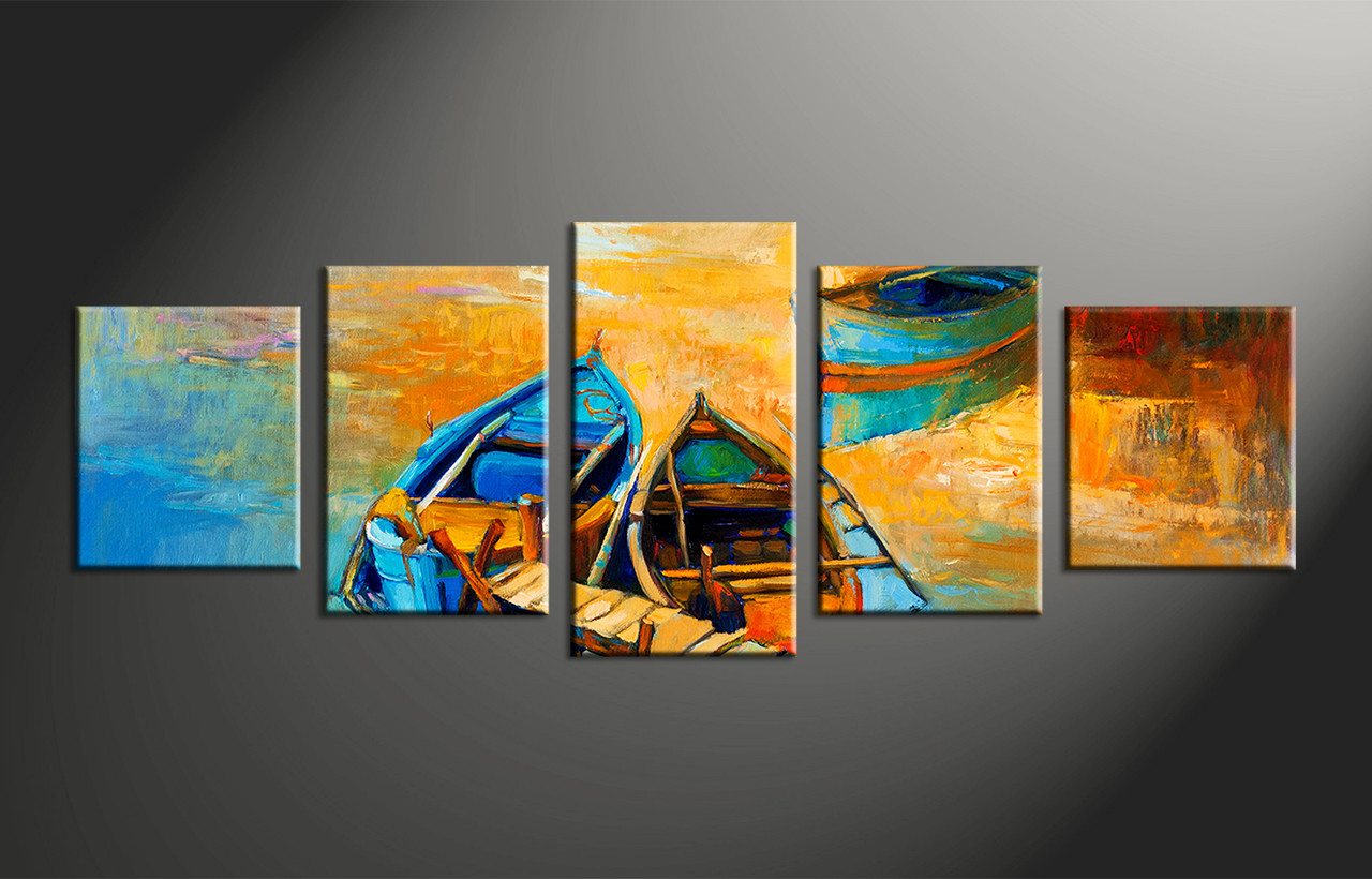 5 piece boats ocean oil paintings yellow canvas wall decor for 5 piece mural