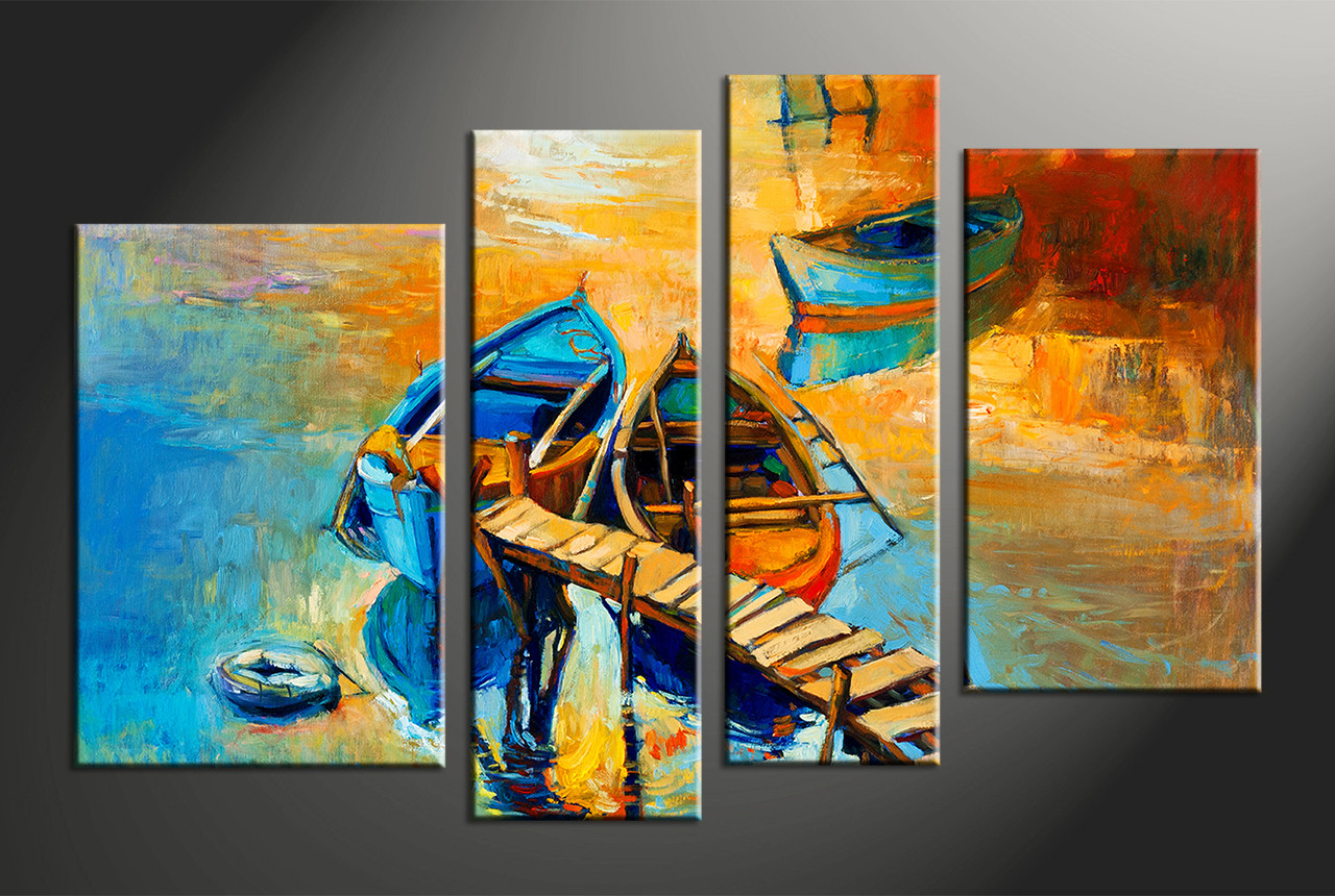 How High To Hang Pictures On Wall 4 Piece Oil Paintings Boat Ocean Huge Yellow Canvas Art