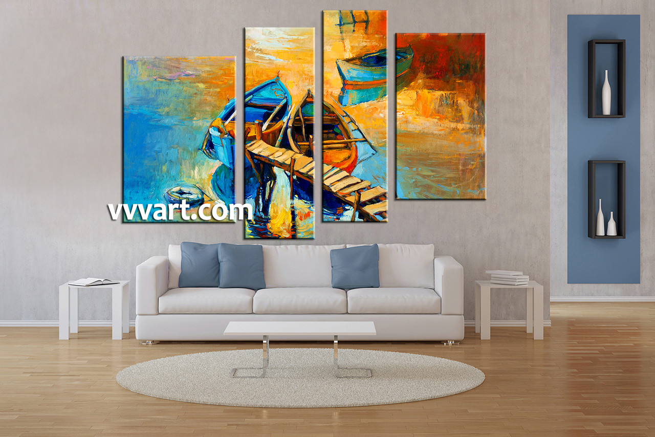 Living Room Art 4 Piece Canvas Wall Ocean Decor Oil Paintings Pictures