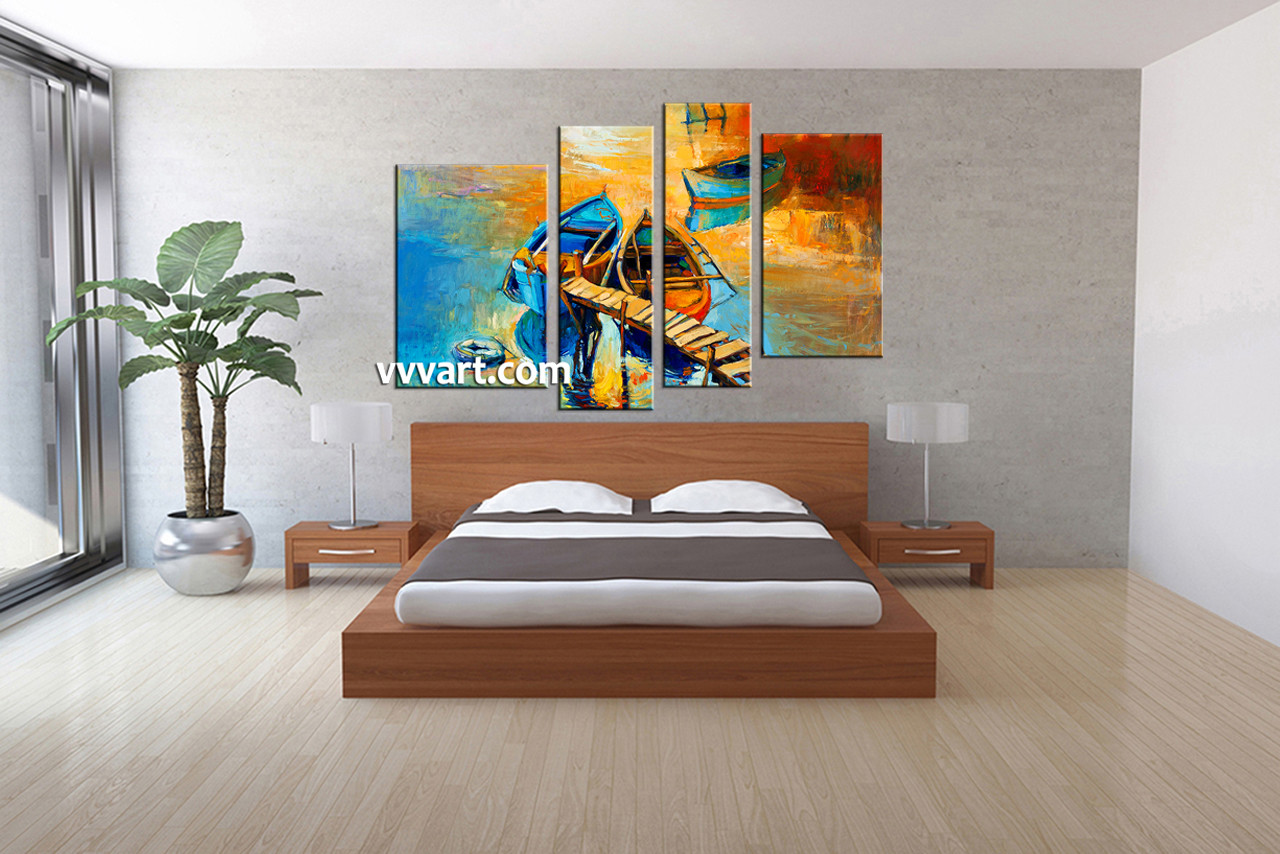 4 piece oil paintings boat ocean huge yellow canvas art bedroom decor 4 piece wall art ocean huge pictures oil paintings multi panel teraionfo