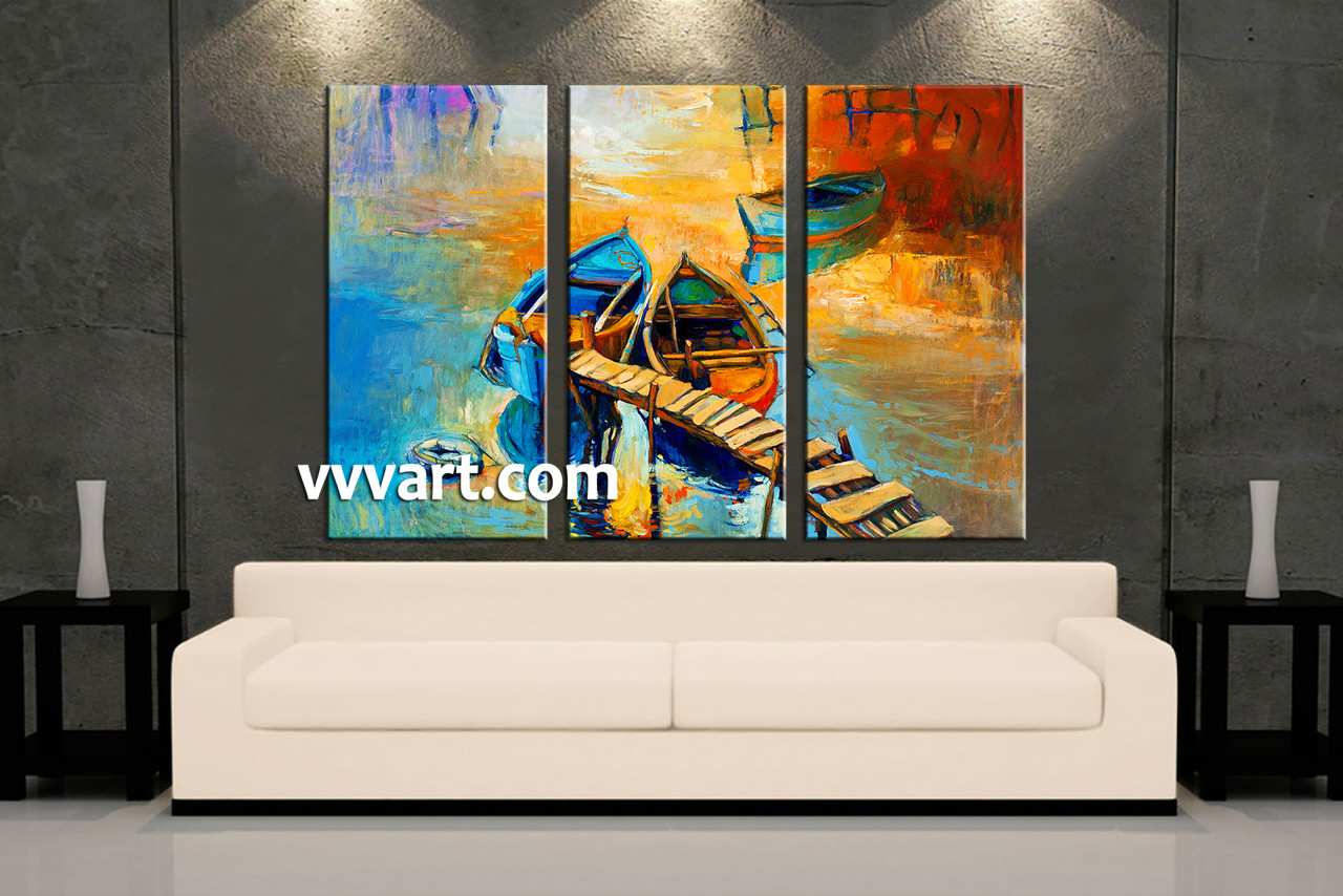 piece boat ocean oil paintings yellow artwork - living room art  piece canvas wall art ocean multi panel canvas scenery