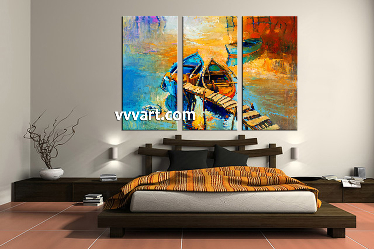 bedroom decor 3 Piece Wall Art ocean canvas art prints scenery multi panel & 3 Piece Boat Ocean Oil Paintings Yellow Artwork