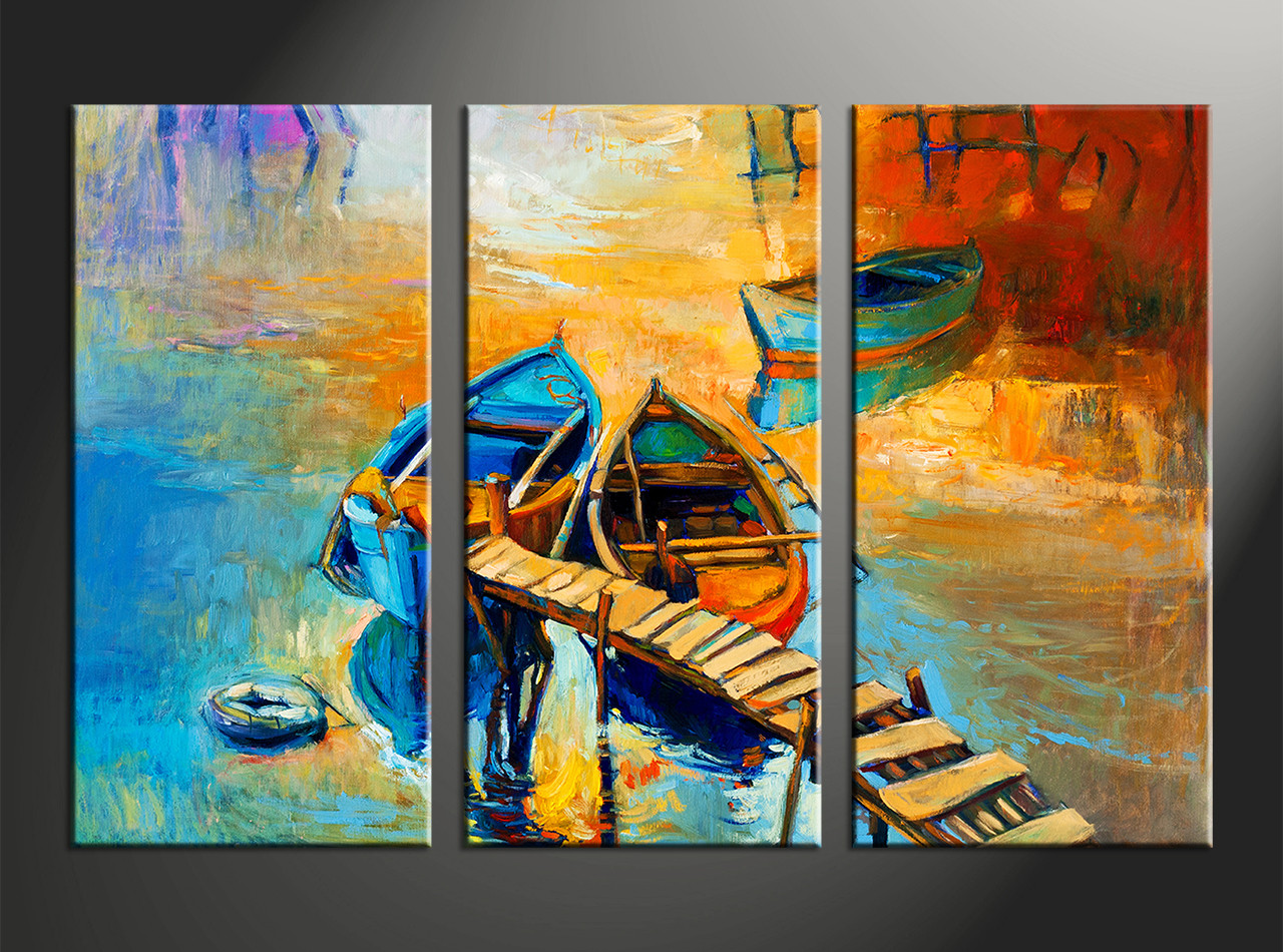 3 piece boat ocean oil paintings yellow artwork for Paintings for house decoration