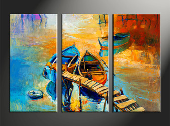 home decor, 3 piece photo canvas, ocean artwork, scenery large canvas, oil paintings wall decor