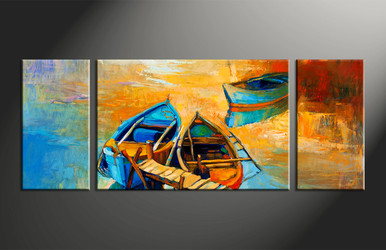 home decor, 3 piece photo canvas, scenery artwork, oil paintings large canvas, ocean wall decor