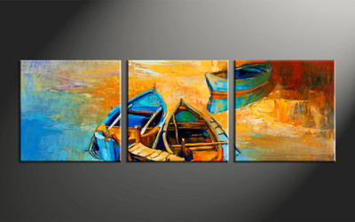 home decor, 3 piece photo canvas, oil paintings artwork, ocean large canvas, scenery wall decor