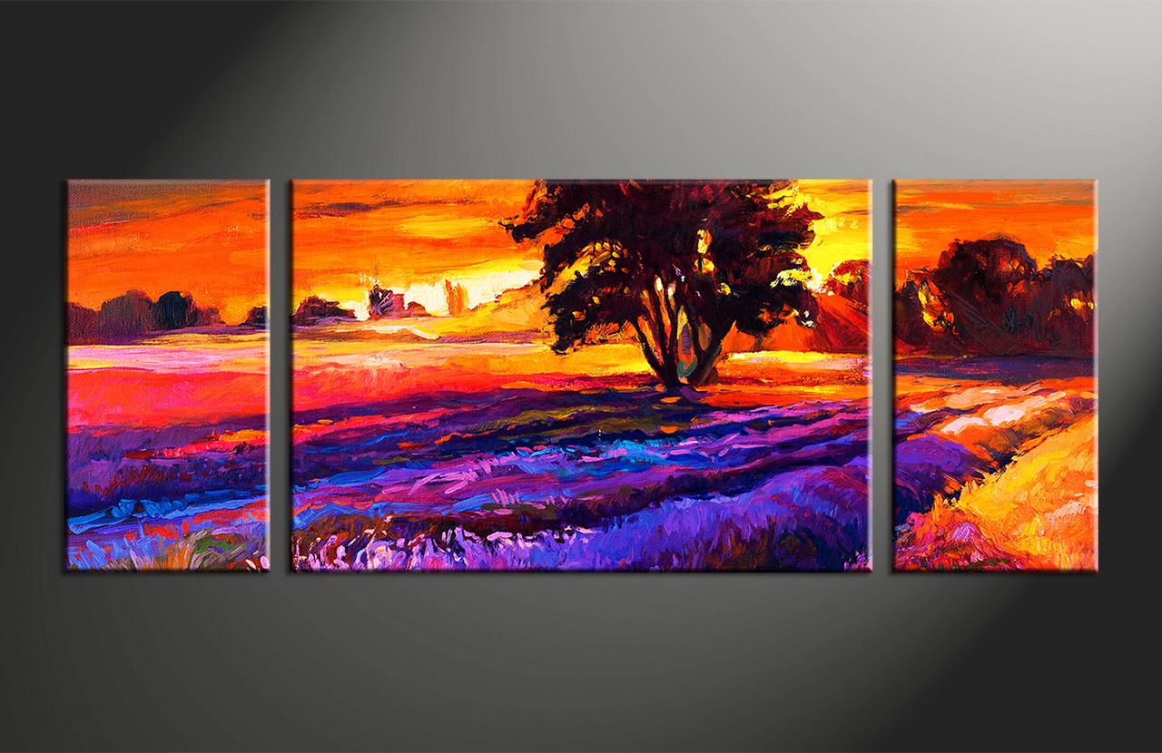 3 piece oil paintings landscape orange sunrise photo canvas for Buy canvas prints online