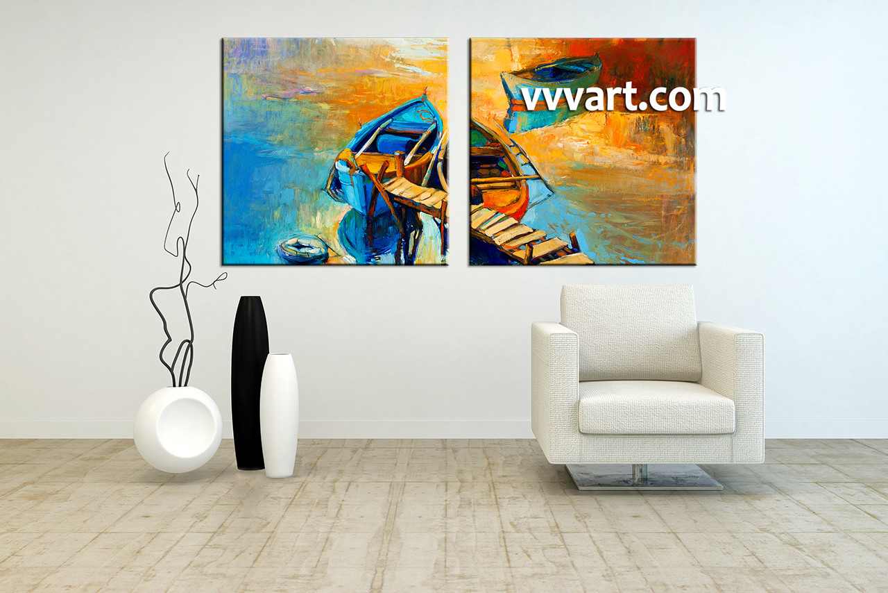 2 Piece Canvas Wall Art 2 piece canvas boat ocean oil paintings yellow pictures