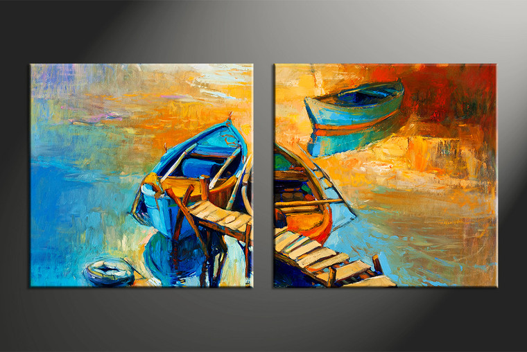 2 Piece Canvas Boat Ocean Oil Paintings Yellow Pictures