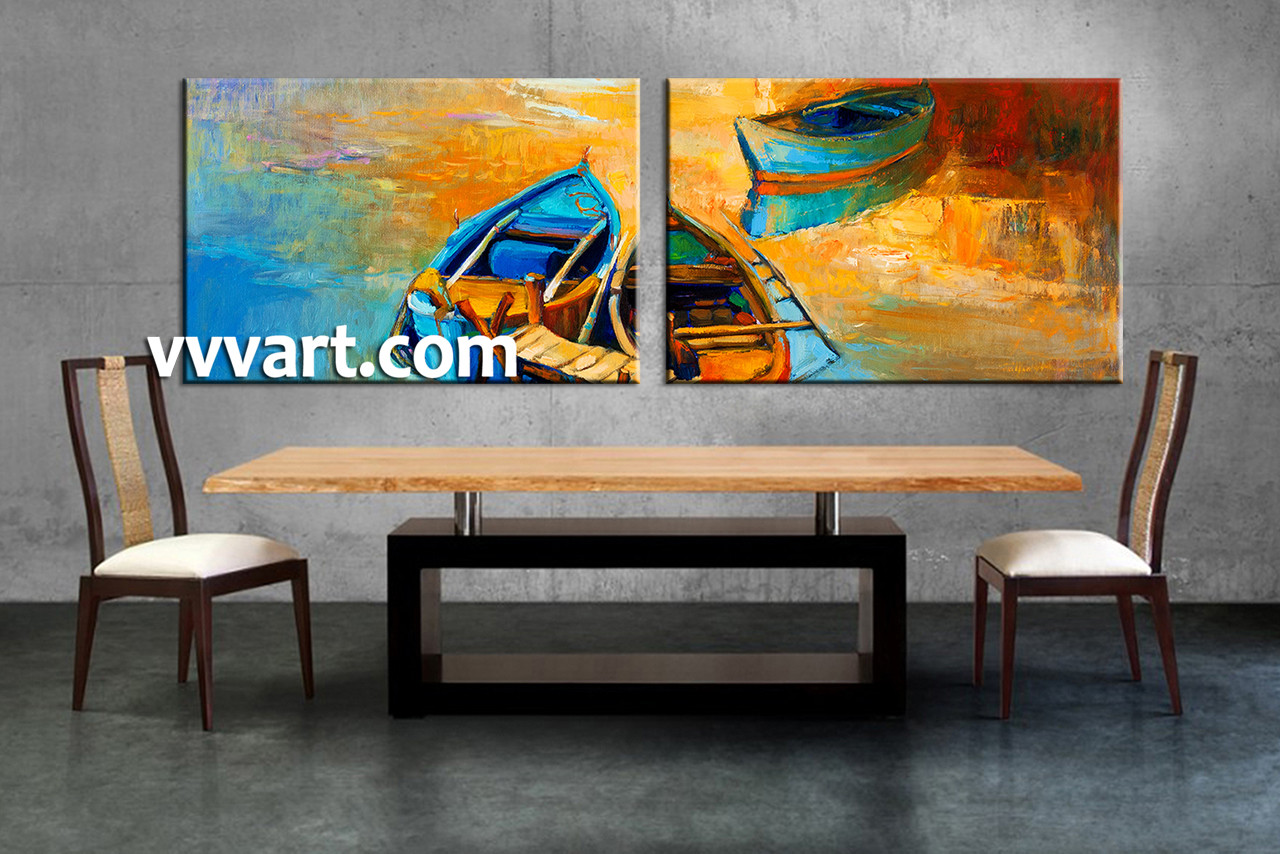2 piece boat ocean oil paintings yellow photo canvas for Dining room paintings