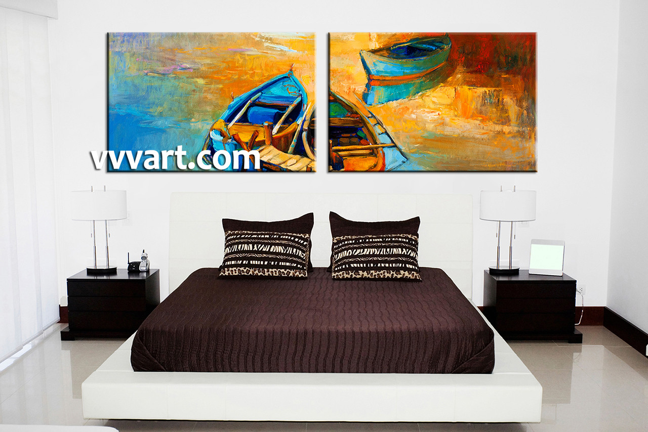 2 Piece Boat Ocean Oil Paintings Yellow Photo Canvas