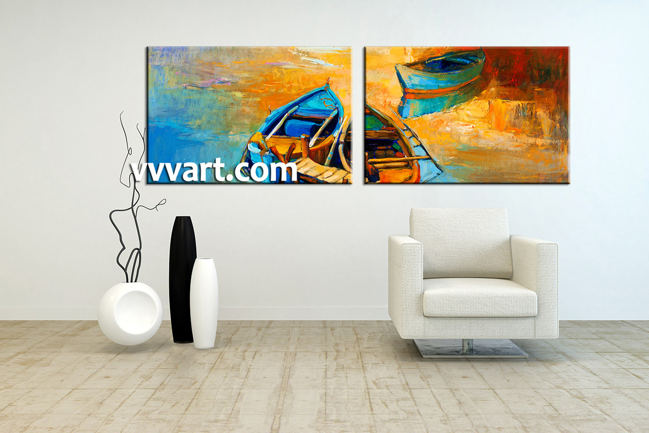 Living Room Art 2 Piece Canvas Wall Ocean Decor Gondola Artwork