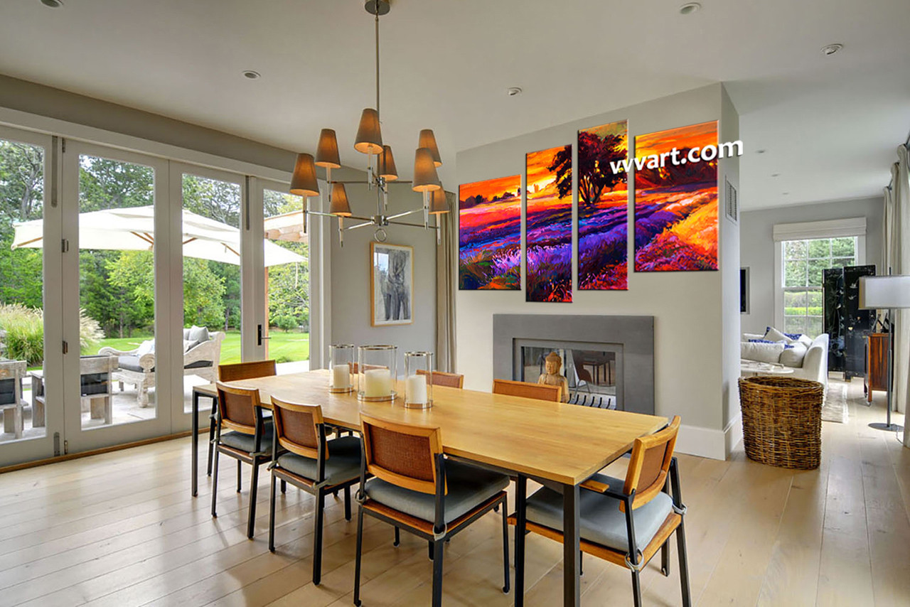 Dining Room Art 4 Piece Canvas Arts Landscape Large Pictures Oil Multi Panel
