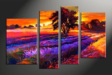 home decor, 4 piece huge pictures, landscape artwork, sunrise large canvas, oil canvas wall art