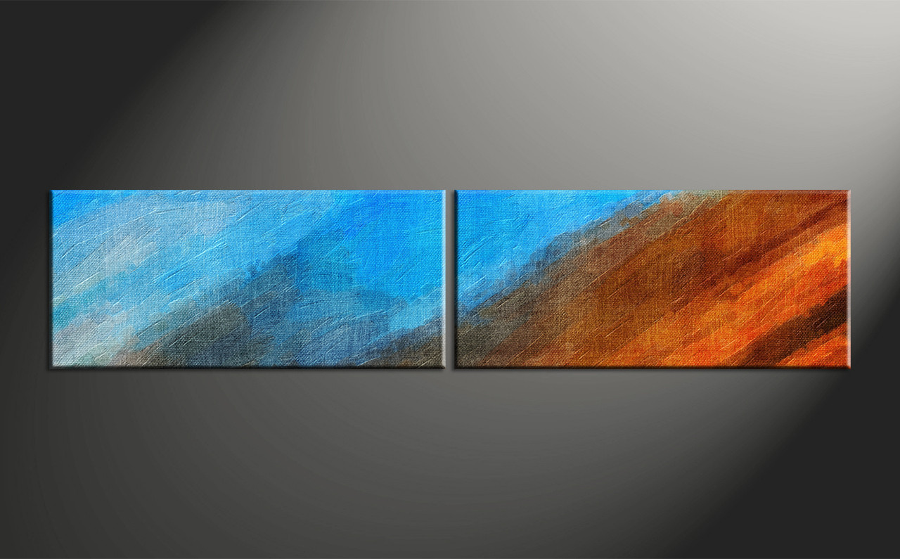 Art Décor: 2 Piece Blue Canvas Abstract Oil Paintings Wall Art