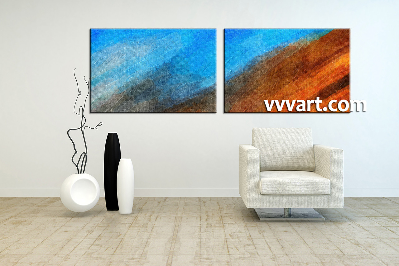 2 Piece Blue Abstract Oil Paintings Photo Canvas
