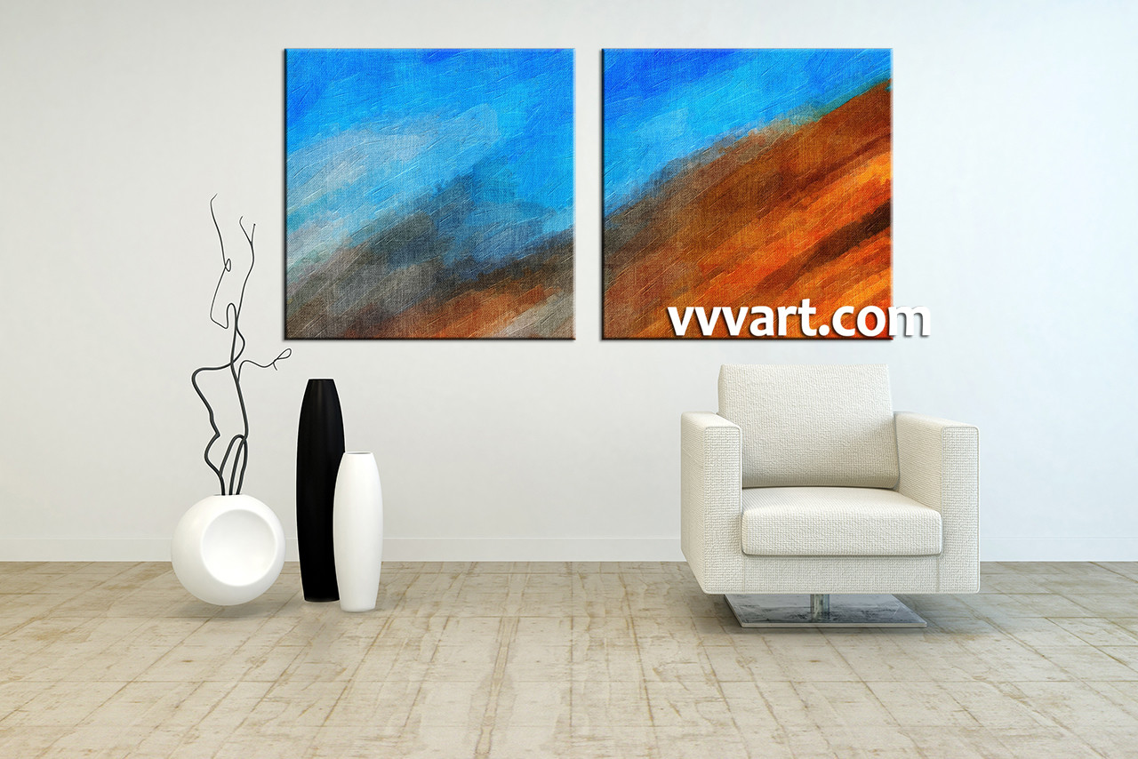 2 Piece Abstract Blue Oil Paintings Large Pictures