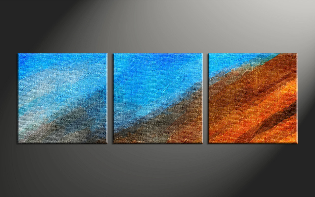 3 piece abstract blue oil paintings canvas wall art for Where to buy canvas art