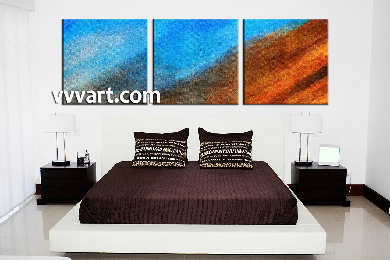 piece abstract blue oil paintings canvas wall art - bedroom decor  piece wall art abstract photo canvas abstract groupcanvas