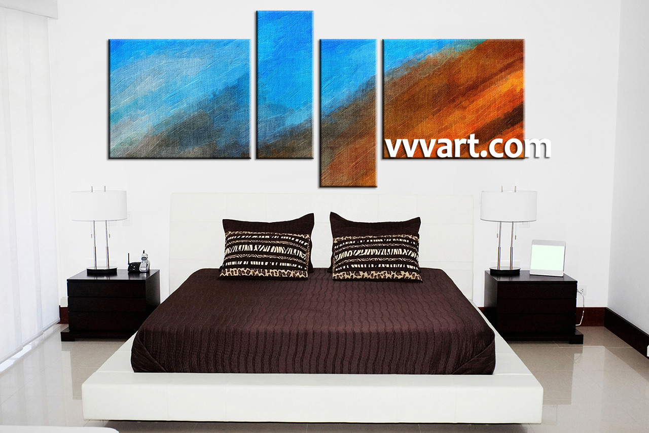 4 Piece Wall Art 4 piece canvas blue abstract oil paintings multi panel art