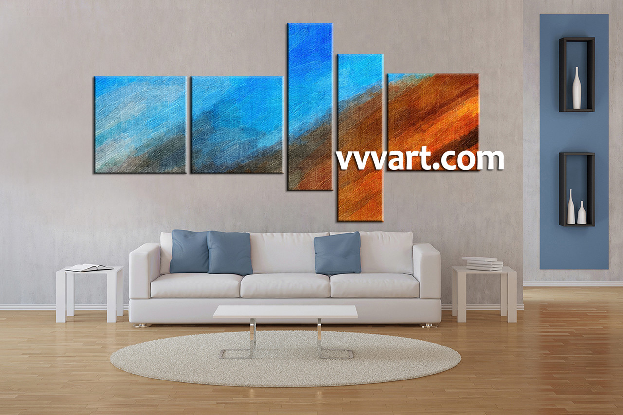 5 Piece Wall Art 5 piece blue oil paintings abstract multi panel canvas