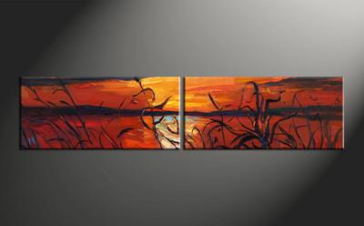 home decor, 2 piece artwork, sunset canvas photography, scenery huge canvas art, ocean canvas wall art