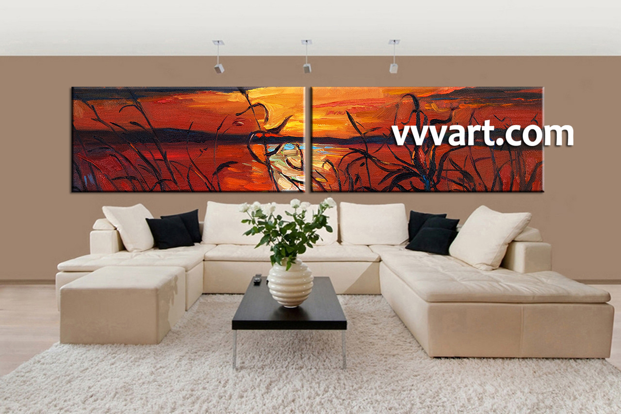 Wall Art For Living Room 2 Piece Red Canvas Ocean Sunset Oil Paintings Huge Pictures